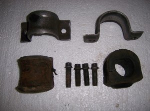 F41 FRONT STABILIZER BUSHING SET CLAMPS & BOLTS USED
